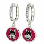 Loyola Chicago Ramblers Enamel Large CZ Hoop Earrings