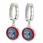 Loyola Marymount Enamel Large CZ Hoop Earrings