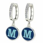 Maine Black Bears Enamel Large CZ Hoop Earrings