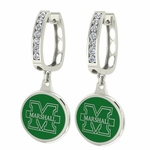 Marshall Thundering Herd Enamel Large CZ Hoop Earrings