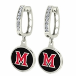 Miami Ohio Redhawks Enamel Large CZ Hoop Earrings