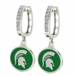 Michigan State Spartans MSU Enamel Large CZ Hoop Earrings
