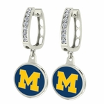 Michigan U of M Wolverines Enamel Large CZ Hoop Earrings