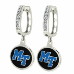 Middle Tennessee State Raiders Enamel Large CZ Hoop Earrings
