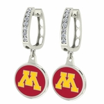 Minnesota Golden Gophers Enamel Large CZ Hoop Earrings