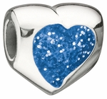 Miss Chamilia Blue Glitter Heart Bead