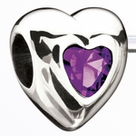 Miss Chamilia February Birthstone CZ Heart Bead