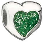 Miss Chamilia Green Glitter Heart Bead