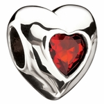 Miss Chamilia January Birthstone CZ Heart Bead