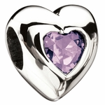 Miss Chamilia June Birthstone CZ  Heart Bead