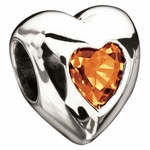 Miss Chamilia November Birthstone CZ  Heart Bead
