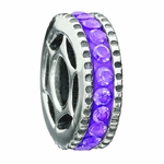 Miss Chamilia Purple CZ Bling Ring Bead