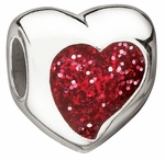 Miss Chamilia Red Glitter Heart Bead