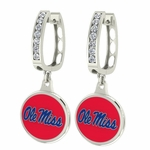 Mississippi Ole Miss Enamel Large CZ Hoop Earrings