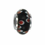 Moress Silver Black and Red Murano Glass Bead