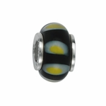 Moress Silver Black and Yellow Murano Glass Bead