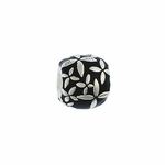 Moress Silver Black Enamel with Flowers Bead