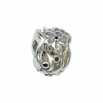 Moress Silver Blue CZ Flower Bead