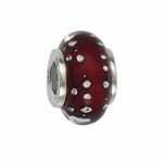 Moress Silver Brown Dotted Murano Glass Bead