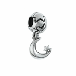Moress Silver Dangle Moon and Star Bead