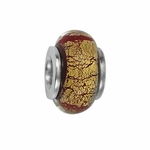 Moress Silver Gold and Brown Murano Glass Bead