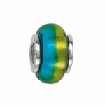 Moress Silver Green and Blue Murano Glass Bead