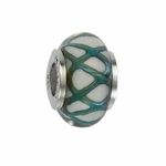 Moress Silver Green and White Murano Glass Bead