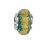 Moress Silver Green and Yellow Murano Glass Bead