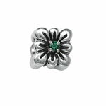Moress Silver Green Stone Flower Bead