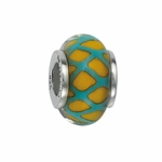 Moress Silver Greens and Yellows Murano Glass Bead