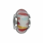 Moress Silver Pink and White Murano Glass Bead