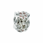 Moress Silver Pink CZ Flower Bead