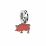 Moress Silver Pink Pig Dangle Bead