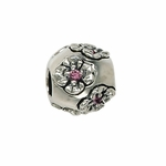 Moress Silver Pink Stone Flower Bead