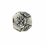 Moress Silver Purple Stone Flower Bead