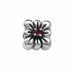Moress Silver Red Stone Flower Bead