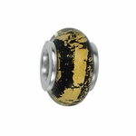Moress Silver Yellow and Black Murano Glass Bead