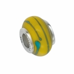 Moress Silver Yellow and Green Murano Glass Bead
