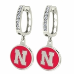 Nebraska Huskers Enamel Large CZ Hoop Earrings