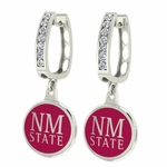 New Mexico State Aggies Enamel Large CZ Hoop Earrings