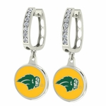 North Dakota State Bison Enamel Large CZ Hoop Earrings