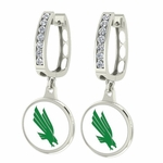 North Texas Mean Green Enamel Large CZ Hoop Earrings