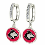 Northern Illinois Huskies Enamel Large CZ Hoop Earrings