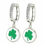 Notre Dame Fighting Irish Enamel Large CZ Hoop Earrings