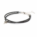 Novo Braided Leather Black Adjustable Double Strand Bracelet