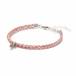 Novo Braided Leather Blush Pink Adjustable Double Strand Bracelet