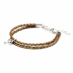 Novo Braided Leather Bronze Adjustable Double Strand Bracelet