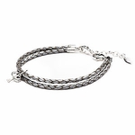 Novo Braided Leather Grey Adjustable Double Strand Bracelet
