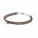 Novo Braided Leather Mocha Adjustable Double Strand Bracelet
