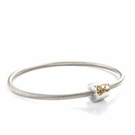 Novo Silver and Gold N Bangle Bead Bracelet